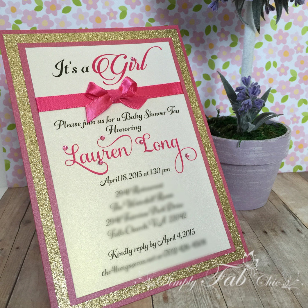 Custom Handmade Hot Pint & Gold Glitter Baby Shower Invitation Simple Elegant Babyshower Invitations - Simply Fab Chic