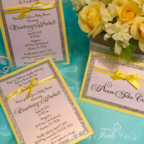 Custom Handmade Yellow & Silver Glitter Baby Shower Invitation Simple Elegant Babyshower Invitations - Simply Fab Chic