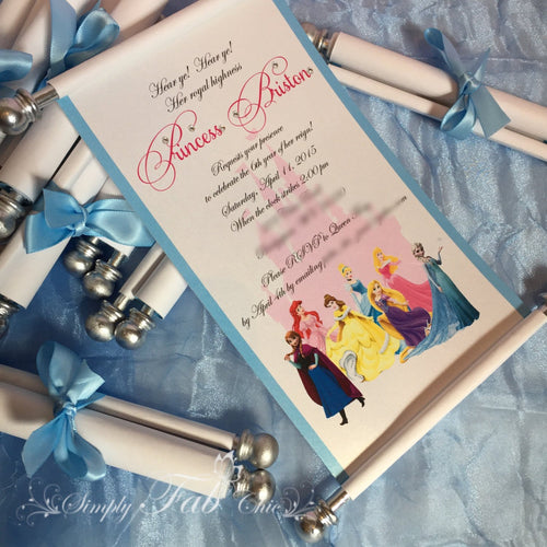 Disney Princesses Scroll Birthday Invitation - Simply Fab Chic