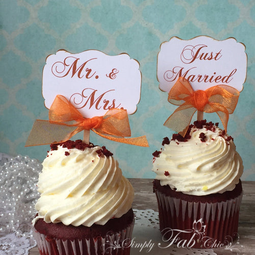 Vintage Shabby Chic Wedding Cupcake Topper Personalized Tags / Gift Tags / Thank you Tags / Cupcake Toppers - Simply Fab Chic
