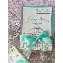 Load image into Gallery viewer, Custom Handmade personalized bling Silver Glitter sweet sixteen 16 Invitation Simple Elegant Babyshower wedding Invitations - Simply Fab Chic