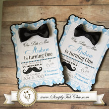 Load image into Gallery viewer, Little Man Mustache Bow Tie (Set of 10) Custom Handmade Invitation Baby Shower First 1st Birthday - Simply Fab Chic