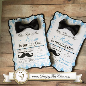 Little Man Mustache Bow Tie (Set of 10) Custom Handmade Invitation Baby Shower First 1st Birthday - Simply Fab Chic