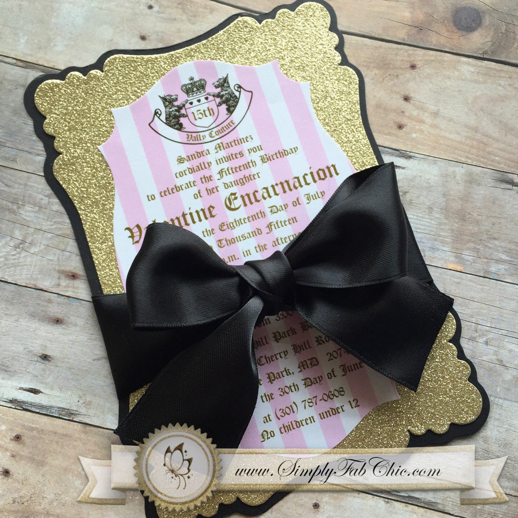 Classy and Chic Juicy Couture Inspired Custom handmade sparkly glitter Invitation (set of 10) - Simply Fab Chic