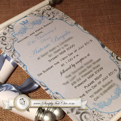 Prince Royal Baptism Invitation | Little Boy Royal Scroll Invite in Light Baby Blue and Silver - Simply Fab Chic