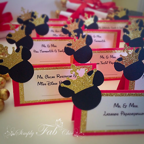 Prince Mickey Birthday Place Card Food Tent Escort Seating Card - Simply Fab Chic
