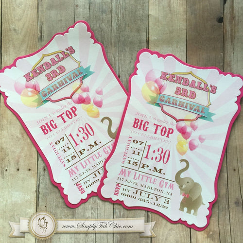 Carnival Circus Elephant Invitation Baby Shower Girl Birthday - Simply Fab Chic