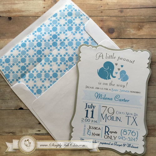 Elephant Baby Shower Invitation Baby Elephant 1st Birthday Baby Boy - Simply Fab Chic