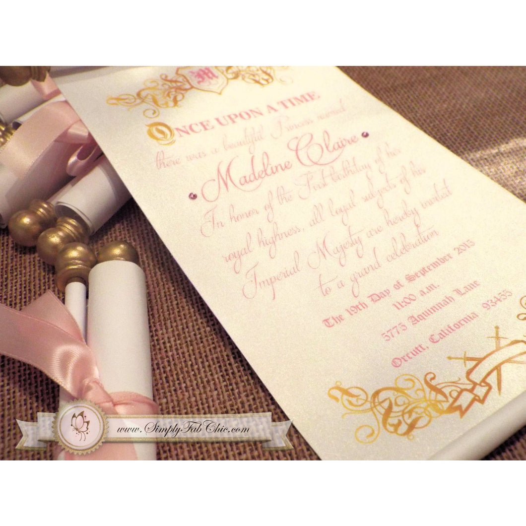 Royal Princess Fairytale Scroll Invitation First Birthday in Pink and Gold - Simply Fab Chic