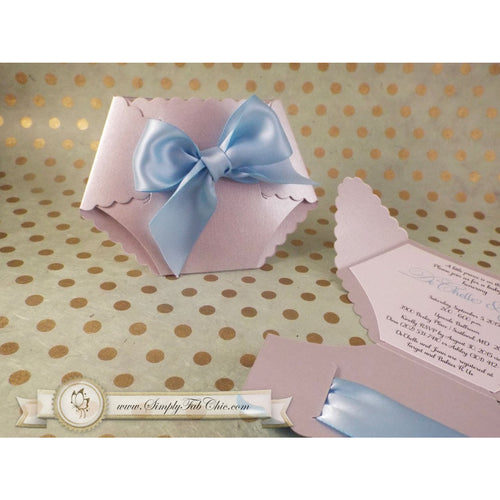 Baby Boy Shower Diaper Invitation in Silver Gray and Blue - Simply Fab Chic