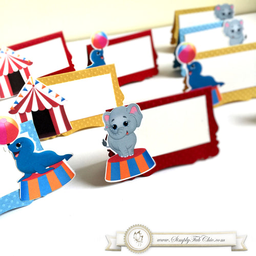 Circus Carnival Place Card Food Tent sign Elephant Seal and Circus Escort Seating Chart - Simply Fab Chic
