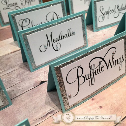 Wedding Tiffany (Acqua) inspired Place Card Food Tent Seating Escort Cards - Simply Fab Chic