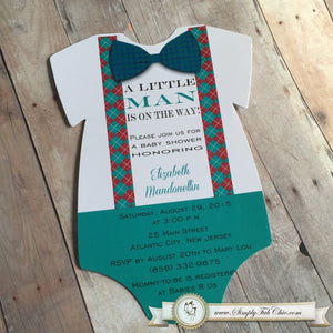 Baby Boy Little Gentleman Baby Shower Bowtie Onesie Invitation - Simply Fab Chic