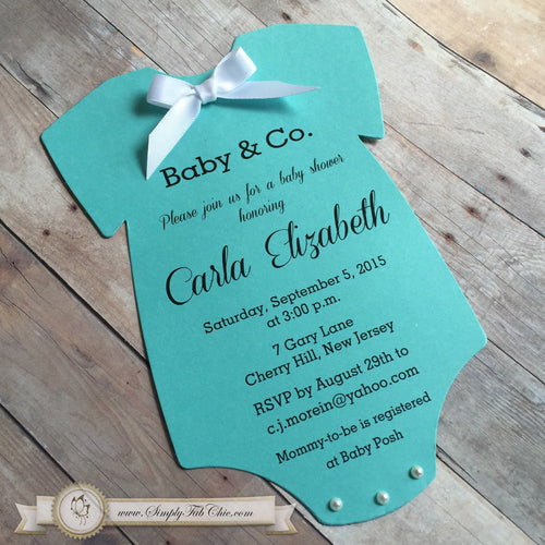 Baby & Co. Baby Shower Onesie Invitation Tiffany Inspired - Simply Fab Chic