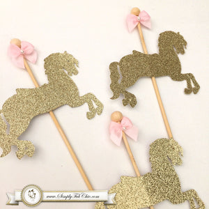 Carousel Horse Cupcake Topper / Merry Go Around Horse - Glitter - Simply Fab Chic