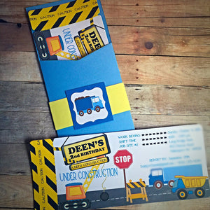 Construction Truck Dump Truck Invitation Custom Handmade Birthday Party Invitation for kids Construction Theme Party Truck Party - Simply Fab Chic