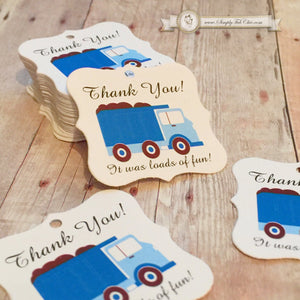 20 - Construction Dump Truck theme Tags Thank you Tags Birthday party favor tags - Simply Fab Chic