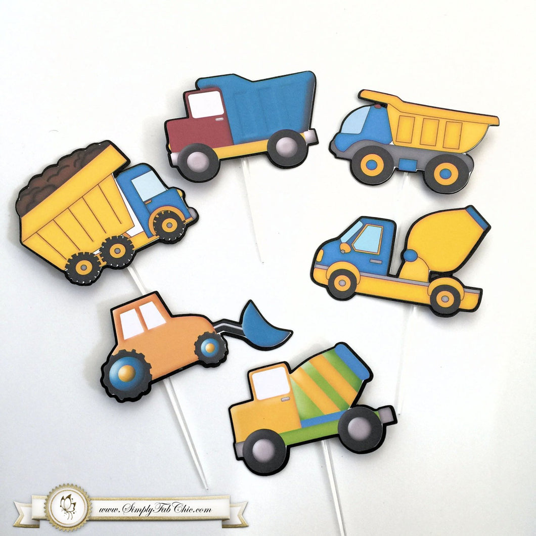 Construction Truck Cupcake Topper Personalized Tags / Gift Tags / Thank you Tags / Cupcake Toppers - Simply Fab Chic