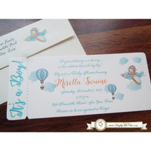 Load image into Gallery viewer, Little Pilot Hot Air Balloon Boy Baby Shower | Babyshower ticket boarding pass Invitation | Hotair Balloon - Simply Fab Chic
