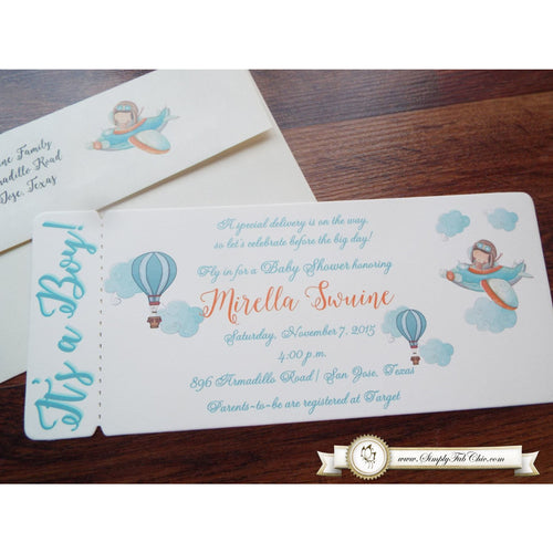 Little Pilot Hot Air Balloon Boy Baby Shower | Babyshower ticket boarding pass Invitation | Hotair Balloon - Simply Fab Chic