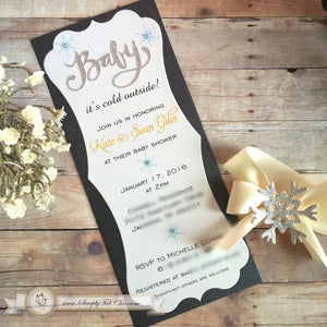 Baby It's Cold Outside Custom handmade sparkly glitter Invitation - Simply Fab Chic