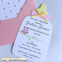 Load image into Gallery viewer, Baby Owl Baby Shower Handmade Bottle Invitation | Baby Bottle Invite | Own Invitation | Custom Invitation | Luxury Invitation - Simply Fab Chic