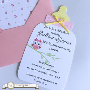 Baby Owl Baby Shower Handmade Bottle Invitation | Baby Bottle Invite | Own Invitation | Custom Invitation | Luxury Invitation - Simply Fab Chic