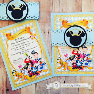 Prince Mickey Clubhouse Invitation | Mickey Clubhouse Birthday Invitation | Handmade Custom Invite | Luxury Invitation - Simply Fab Chic