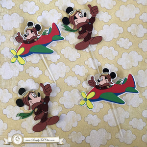 Pilot Mickey Cupcake Topper Personalized Tags / Gift Tags / Thank you Tags / Aviator Mickey Cupcake Toppers - Simply Fab Chic