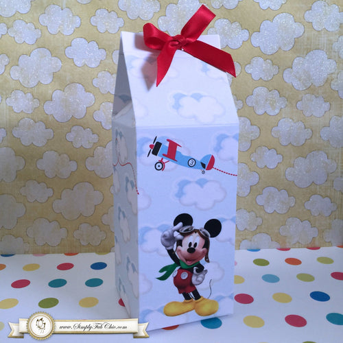 Pilot Mickey Birthday Party Favor Milk Carton Style Boxes | Aviator Mickey Favors - Simply Fab Chic