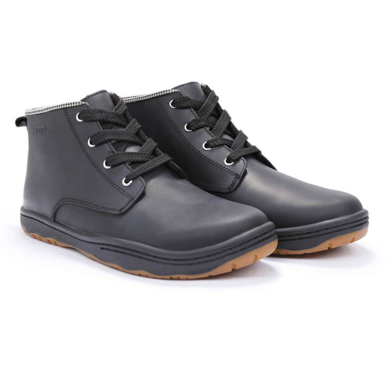 Color:Black-Simple Barney Leather Boot -alt