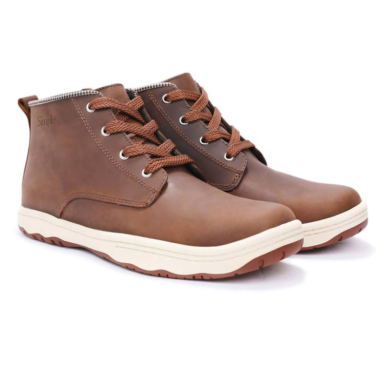 Color:Brown-Simple Barney Leather Boot -alt