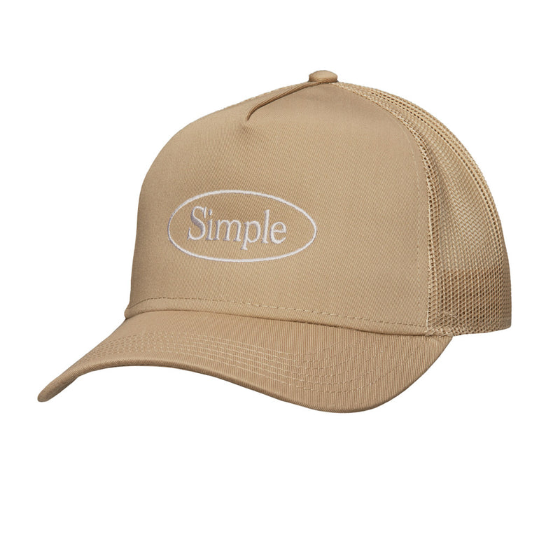 Color:Khaki-Simple Oval Trucker Hat