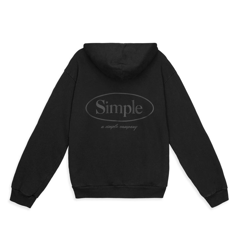 Color:Black-Simple Oval Midweight Hoodie