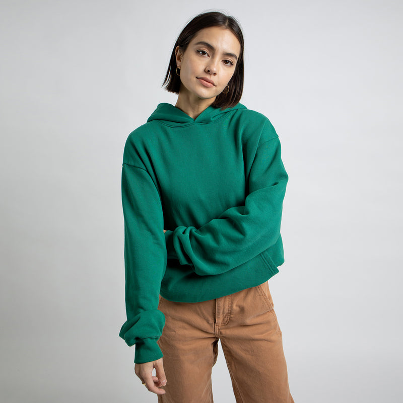 Color:Green-Simple Oval Midweight Hoodie