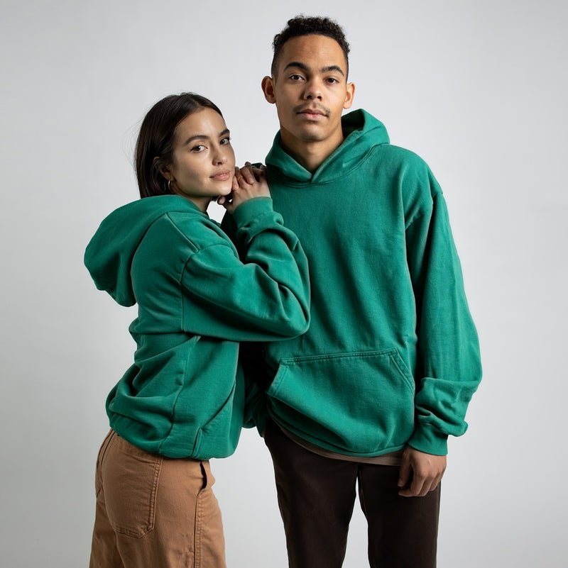 Color:Green-Simple Oval Midweight Hoodie -alt