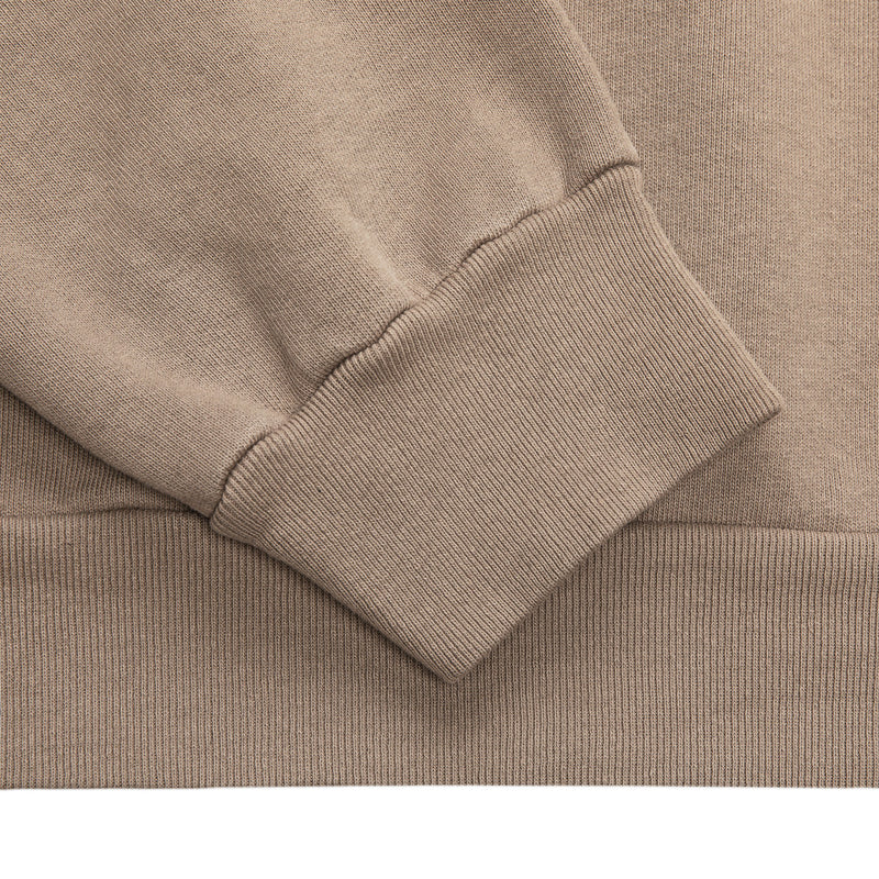 Color:Sand-Simple Oval Midweight Hoodie
