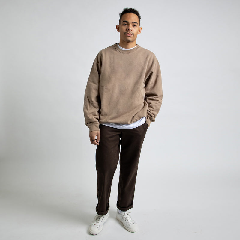 Color:Sand-Simple Standard Issue Midweight Crew -alt