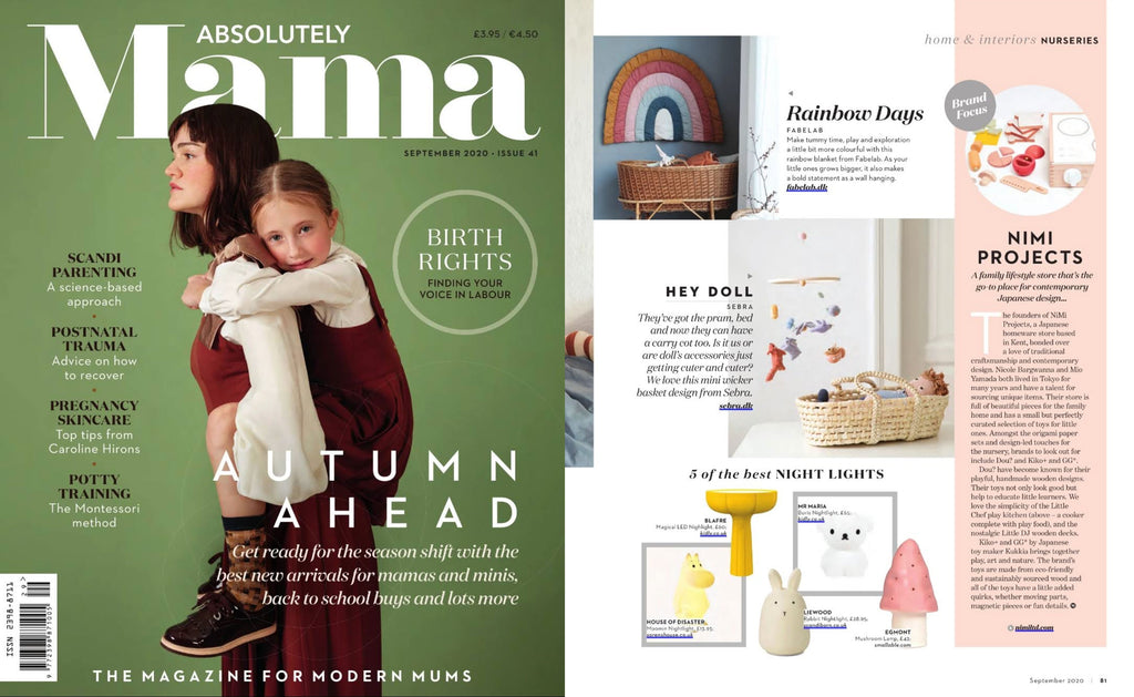 NiMi Projects Dou Toy Little Chef wooden toy kitchen set, featured in Absolutely Mama magazine