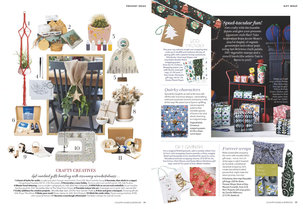 NiMi Projects Paper Stamp Kit (bottom left) and Furoshiki Wrapping Cloths (bottom right) featured in Country Homes & Interiors magazine