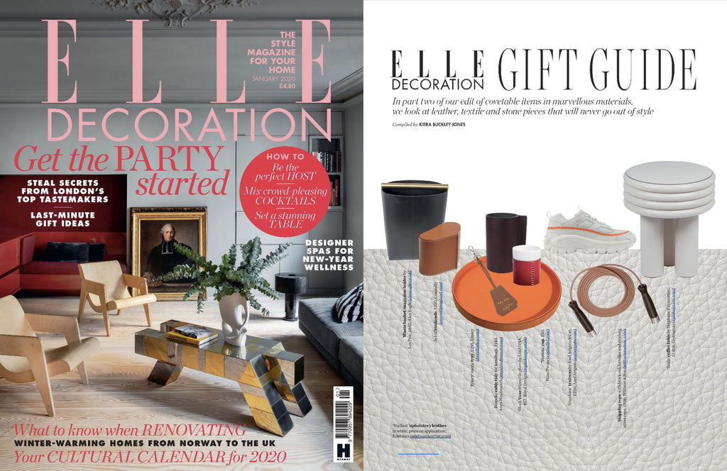 NiMi Projects Vestino ceramic cup with leather cover featured in Elle Decoration