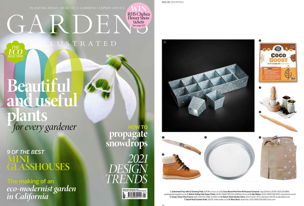 NiMi Projects Sanpu Sanyo Sanpu Apron in beige featured in Gardens Illustrated magazine
