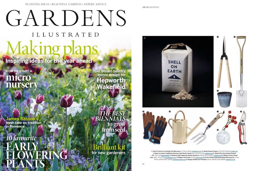 NiMi Projects Moheim Color Drops Vase, a bud vase in white with blue flecks, as featured in Gardens Illustrated magazine, February 2021