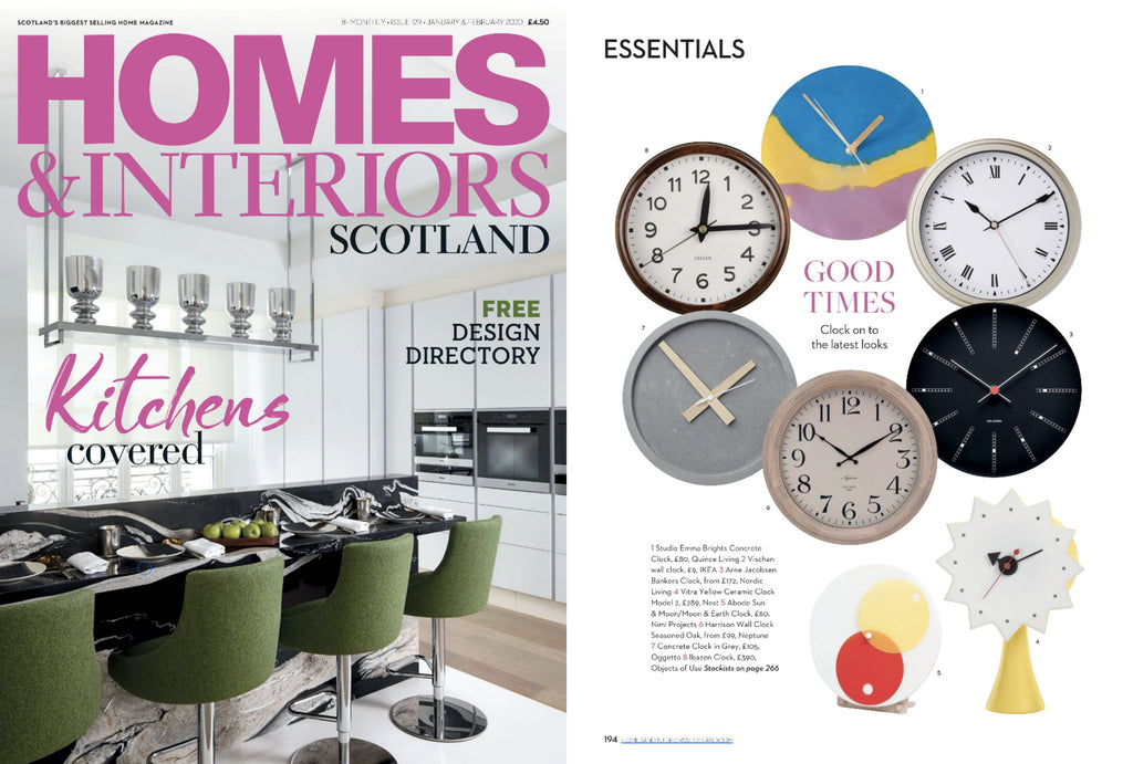 NiMi Projects Abode Sun and Moon Clock featured in Homes & Interiors Scotland