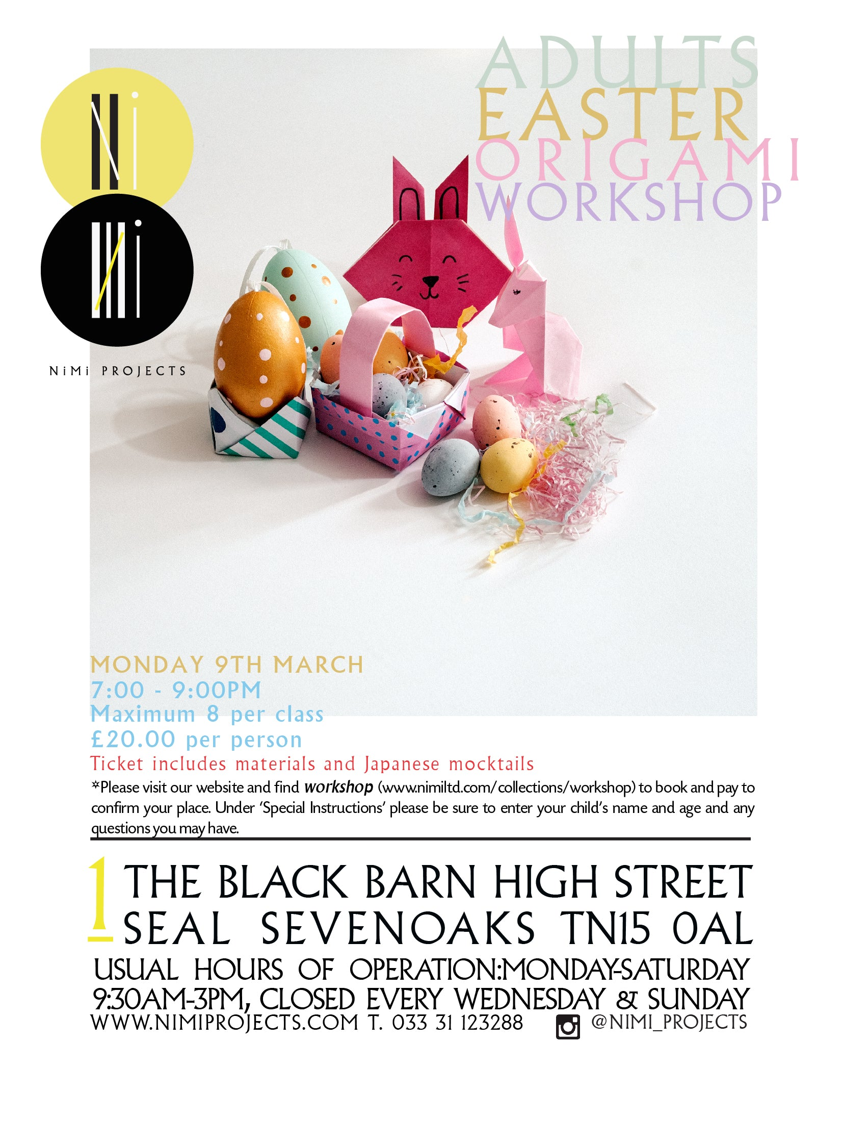 ADULTS EASTER ORIGAMI WORKSHOP NIMI PROJECTS SEVENOAKS SEAL