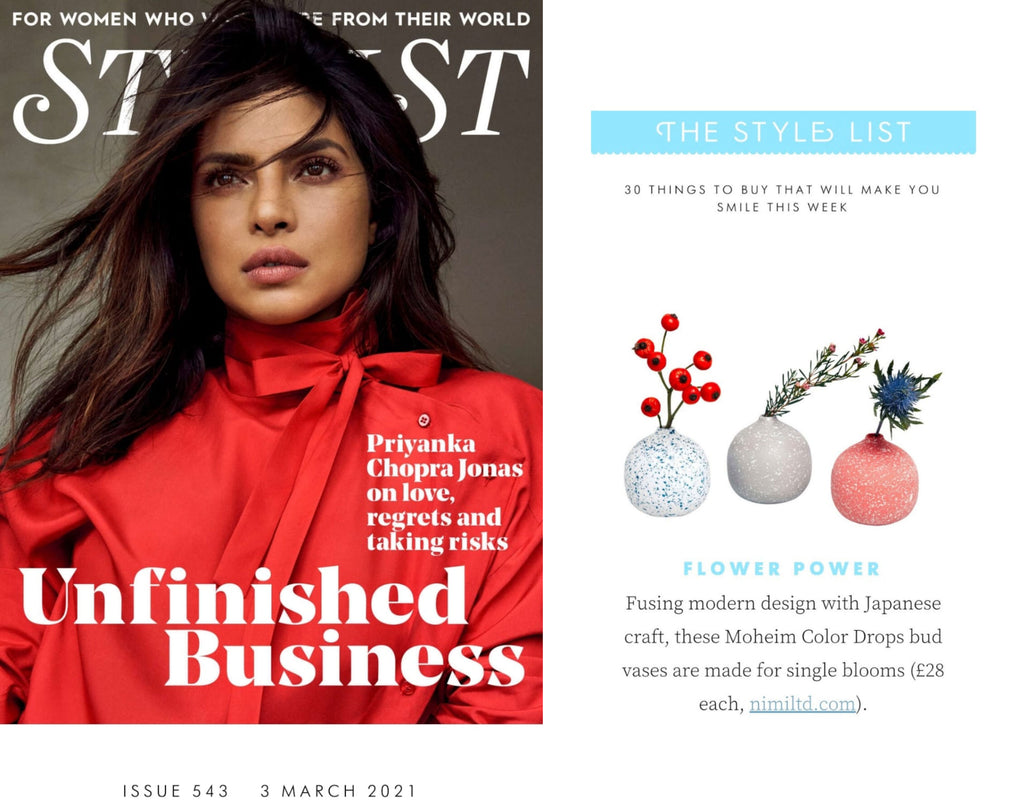 NiMi Projects Moheim Color Drops Vases, small round bud vases in white with blue flecks, grey with white flecks and red with white flecks, as featured in Stylist magazine