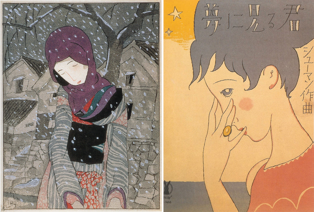 Composite of Takehisa Yumeji's illustration of a woman in snow wearing a grey kimono, and an illustration of a woman for music sheet cover.