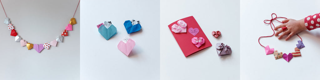 Four NiMi Projects Origami Workshop images: From left to right, mulitcoloured 3D origami heart bunting, three origami heart envelopes featuring little cats and dogs, a Valentine's Day card with decorative origami hearts, a mulitcoloured origami heart necklace.