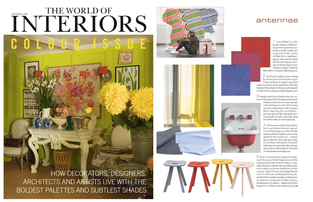 NiMi Projects Atelier Yocto Flower Stools in pink, yellow red and blue featured in the World of Interiors magazine