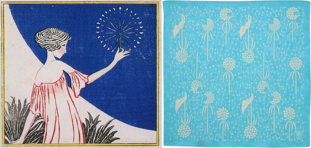 A composite image of, on the left, a Takehisa Yumeji illustration of a young woman in a pink dress watching a firework display, and on the right a blue Japanese furoshiki wrapping cloth featuring a Yumeji design of dandelion heads.